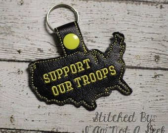 Support our Troops - USA - US  - United States - Military - In The Hoop - Snap/Rivet Key Fob - DIGITAL Embroidery Design
