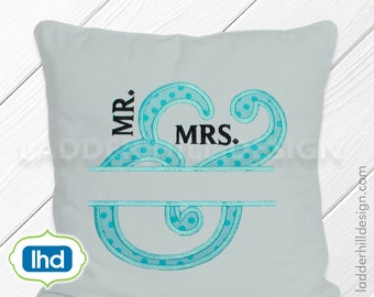 Mr.  & Mrs. Wedding Applique Monogram -- Mr.  and Mrs. Embroidery Monogram Embroidery Design WED002