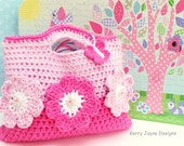 THE PINK FLOWER Crochet Bag Pattern By Kerry Jayne Designs Girls bag pattern Easter crochet pattern, Easter crochet bag pattern, gift idea