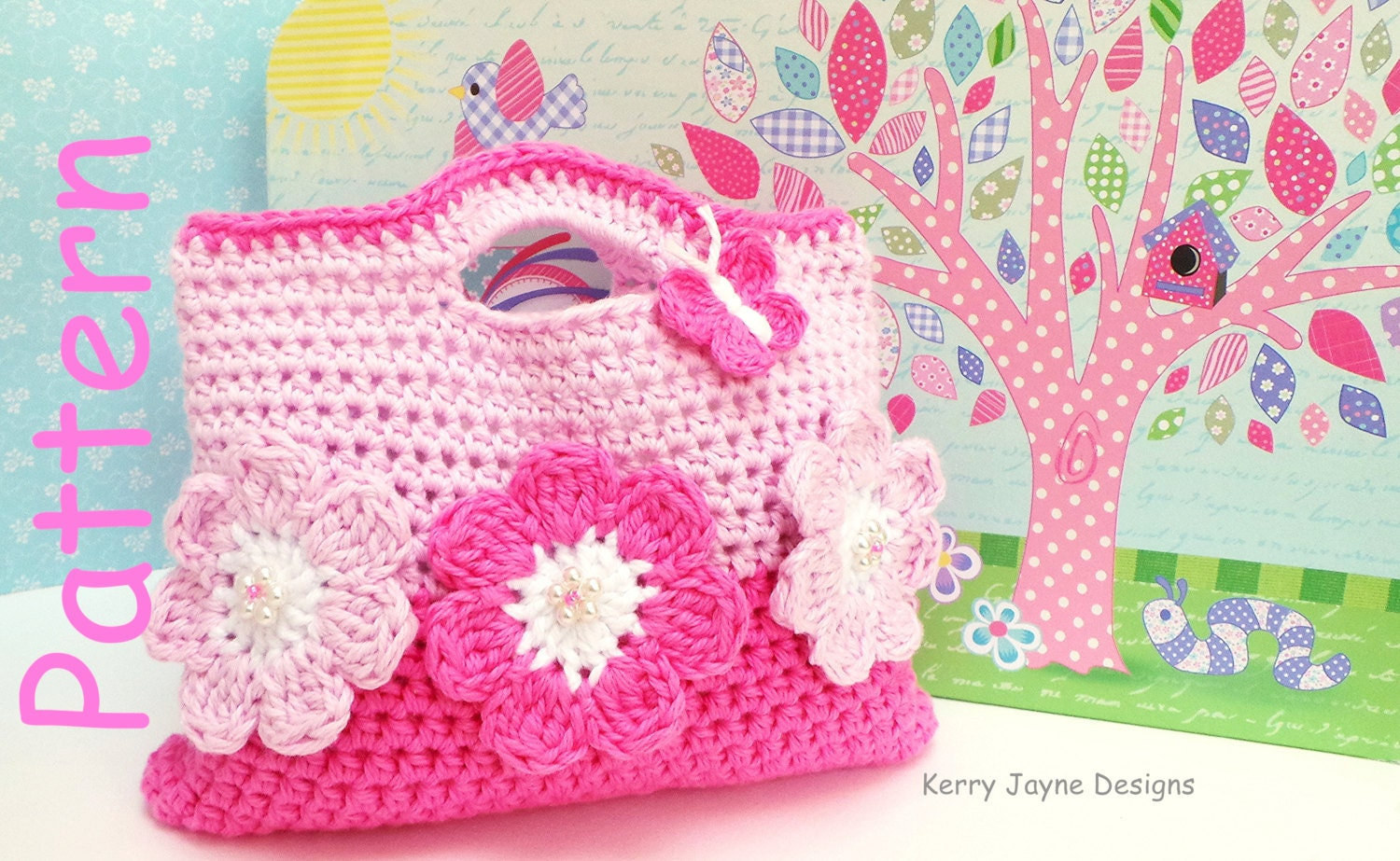 Crochet bag pattern by kerryjaynedesigns girls crochet bag the pink flower crochet bag pattern by kerry jayne designs girls bag pattern easter crochet pattern bankloansurffo Image collections