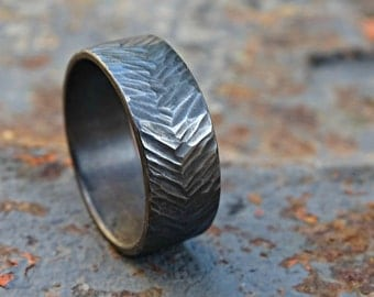 mens wedding band silver tire tread ring black silver mens proposal ring silver - Mud Tire Wedding Rings