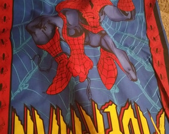 Spiderman wallhanging fabric panel cotton quilt blanket topper