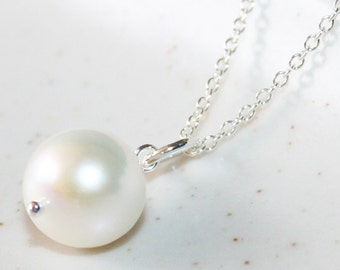 Genuine Freshwater White Pearl Necklace, Sterling Silver, Large Pearl Pendant, Elegant and Feminine Necklace