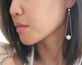 South Sea Pearl   Ball Chain Earrings   Gold