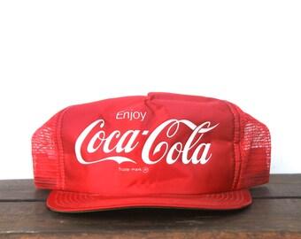 Amazing Vintage Shiny Satin Coke Coca Cola Soda Pop Trucker Hat Snapback Baseball Cap
