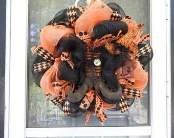 Primitive Witch Shoes/Witch Hat Deco Mesh Wreath