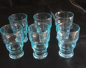 Murano Blown Glass Set of 6 small glasses for Liqueur 1940s