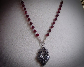 Red Rosary Style Heart Necklace