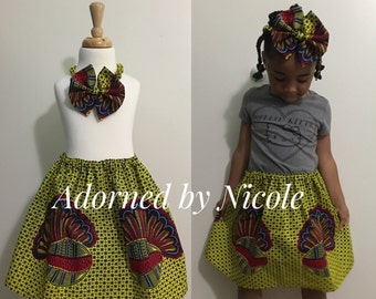 Girls Skirt Set:African Print Cotton Yellow with Red and Blue Shell
