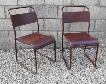 Industrial Stacking School Chair - Bakelite Seat Metal Frame