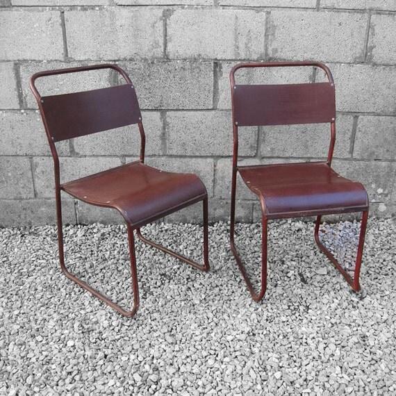 Industrial School Chair Stacking Vintage Seat Metal Frame