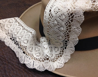 Ivory cotton lace/Scalloped Edge Cotton Trim /3 Inch Crochet Lace/Cotton lace/Wide Lace/Washable Lace/Wedding supplies/Bridal Lace