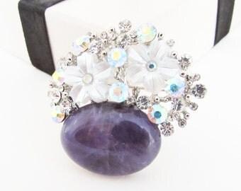 Amethyst Gemstone and Rhinestone Brooch, Purple Brooch, Gemstone Brooch, Semi Precious Gemstone Pin, Mother of Pearl Brooch, Amethyst