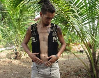 Organic cotton, Bogolan black and white sleeveless jacket