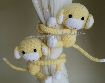 A pair of Light yellow Monkey Curtain Tiebacks,(Both sides)    MADE TO ORDER..