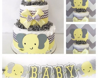 Chevron Elephant Baby Shower Party Package in Yellow and Gray, Elephant Diaper Cakes