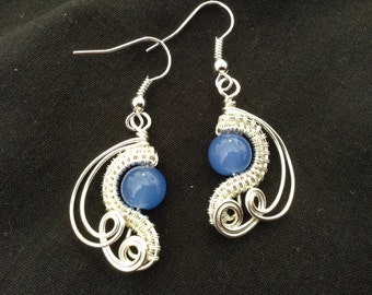 Wirework and blue jade earrings