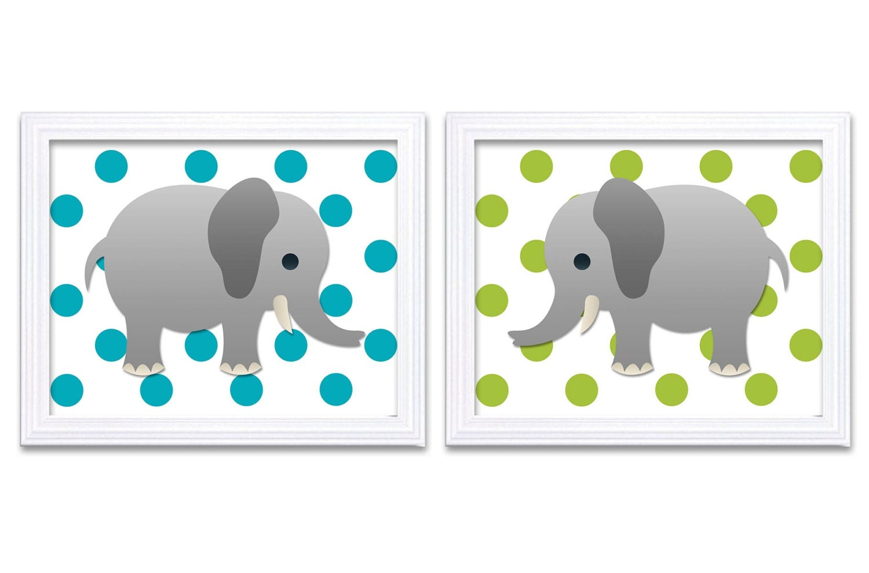 Turquoise Blue Lime Green Elephant Nursery Art Print Set of 2 Elephants Child Art Prints Kids Room W