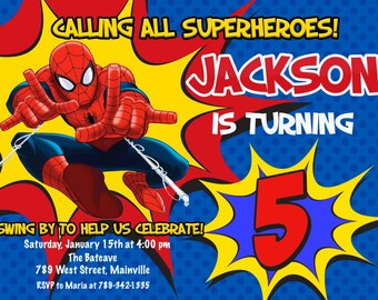 Spiderman, Superhero, Birthday Party Invitation - Printable or Printed with FREE SHIPPING