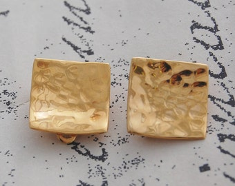 Hammered Earrings, Gold Clip Ons, Gold Earrings, Clip On Earrings, Sterling Silver, Textured Earrings, Clip Ons, Minimal Jewelry, Gold, 925