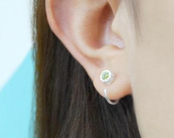 Silver Peridot Hoops, Silver Hoop Earring, Gemstone Earrings, Stud Hoop Earring, Sterling Silver Earring, 925 Silver Earring, Green Gemstone