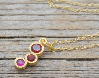 Ruby and Garnet Necklace, Gold Pendant, Ruby Necklace, Garnet, Ruby Gemstone, Red Gemstone, Ruby, Garnet Necklace, Birthstone Jewelry