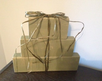 Set of Presents (Green) with Rafia bow