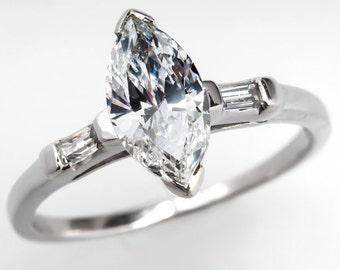 1 Carat Marquise Diamond Vintage Engagement Ring Platinum WMX9739