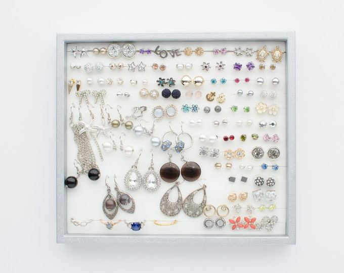 Silver Jewelry Tray - Silver Frame - Earring Organizer