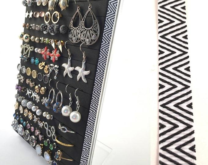 Stud Earring Holder - Black & White Chevron Ribbon - Jewelry Organizer