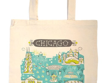 Chicago Tote Bag-City Tote-City Bag-Any City Tote-Turquoise-Lime-Grey--Personalized-Custom