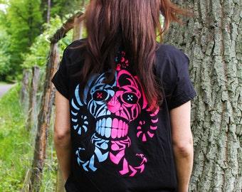 Spectacular Clown - Genetix T-shirt --- UV ACTIVE! - Scifi - Psychedelic - Tribal - Rave -  Techno - Psytrance  - Fluorescent - Shaman Head