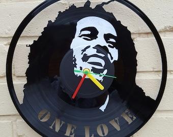 Bob Marley clock, vinyl record wall clock