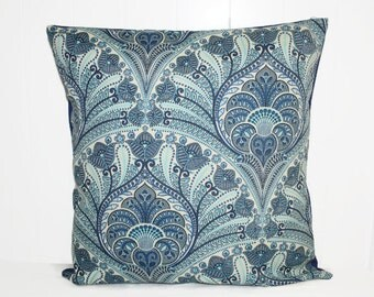 Decorative Outdoor Throw Pillow, Tommy Bahama Blue Damask Pillow Cover