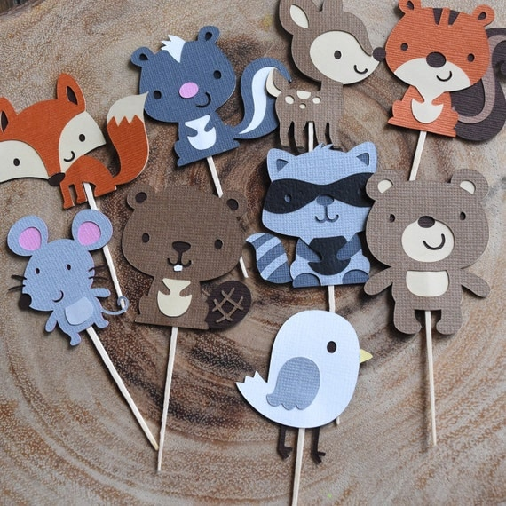 Woodland Animal cupcake toppers, Woodland Theme Party
