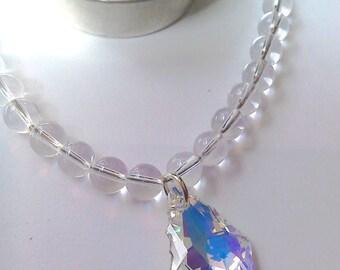 Rock Quartz Handmade Gemstone Crystal Pendant Necklace with Swarovski Crystal