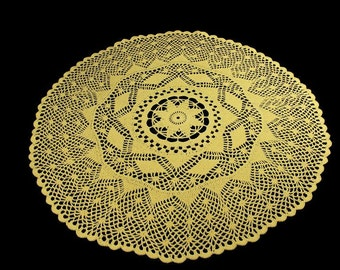 Maize Yellow, Crochet Doily, 21 inches, Round, Tablecloth, Helios, Fine Art Crochet