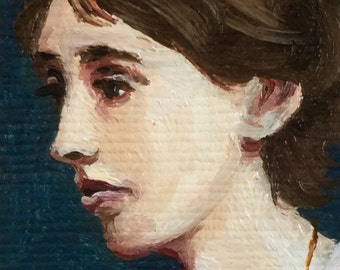 Mini Virginia Woolf Portrait Painting, Framed
