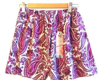 Purple Paisley Highwaisted Shorts