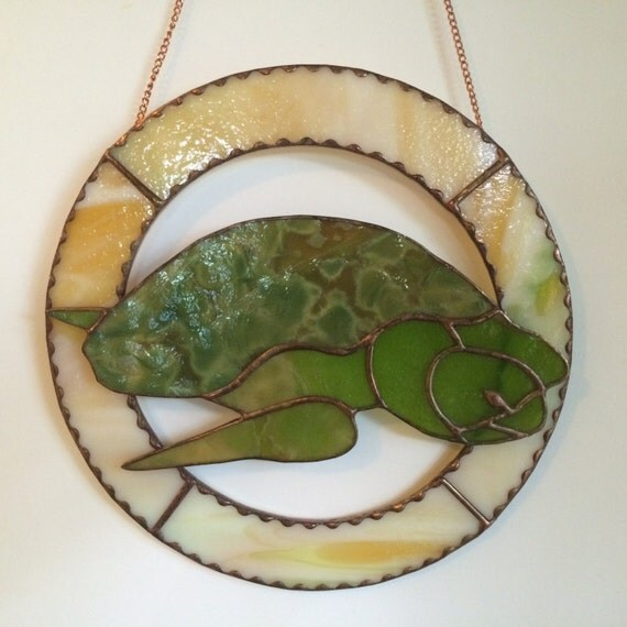 Honu Green Sea Turtle Inspirational Stained Glass Panel Made in Hawaii Black Sands Beach Deesigns by Harris Free Gift Wrap