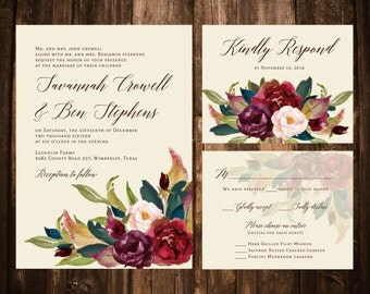 Marsala & Navy Floral Wedding Invitations; Printable OR Set of 25