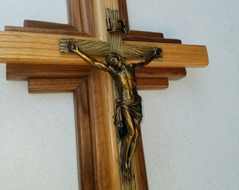 "Bronze Crucifix Wall - American Walnut and Oak Wood - 24"" inch Wall Hanging"