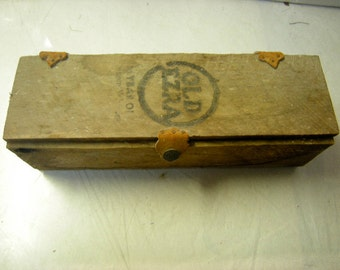 vintage wood box-whiskey box-old ezra wood box-leather hinges-leather snap-storage-shelf display rustic-primitive.-shadow box-
