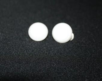 White Pearlized Clip Earrings
