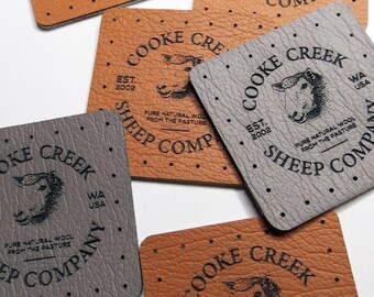 50 - 1.5 x 1.5 Ultraleather - Ultraleather Knitting Tags - Custom Clothing Labels