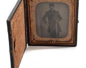 Civil War Officer in Full Uniform & Sword- Original Tin Type Photo c.1862  - 1/6 Plate