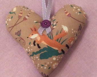 Handcrafted Fox Hanging Heart Decoration