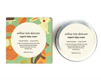 Organic Baby Cream with Marshmallow Root, Chamomile, Aloe and Shea