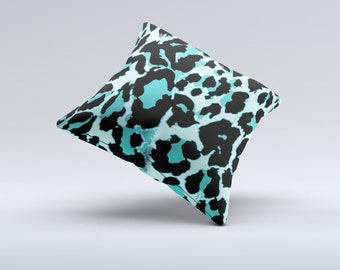The Vector Hot Turquoise Cheetah Print ink-Fuzed Decorative Throw Pillow