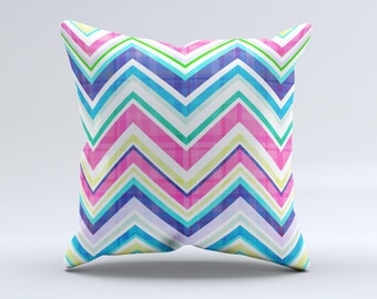 The Vibrant Pink & Blue Layered Chevron Pattern ink-Fuzed Decorative Throw Pillow